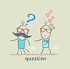 Mann mit Fragezeichen Weglaufen von Mädchen in der Liebe