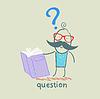 Mann mit Fragezeichen liest Buch