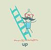 Mann klettert Treppen