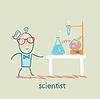 Wissenschaftler mit Reagenzgläsern auf dem Tisch