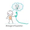 Manager der Kunden sprechen über Kopfhörer mit