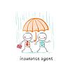Versicherungsvertreter schützt Person regen Regenschirm