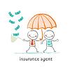 Versicherungsvertreter schützt menschliche Sonnenschirm und sammeln