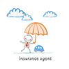 Versicherungsvertreter hält einen Regenschirm über Maschine