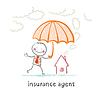 Versicherungsvertreter hält einen Regenschirm über Haus