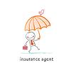 Versicherungsvertreter Versicherungsvertreter mit Regenschirm