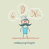 Отоларинголог думает носа, уха и горла | Векторный клипарт