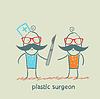 plastischer Chirurg mit Skalpell in der Nähe von Patienten