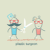 plastischer Chirurg mit einer Schere läuft für Patienten