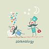 Somnología vienen a paciente que está durmiendo en la almohada | Ilustración vectorial