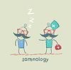 Somnología vienen a paciente que está durmiendo | Ilustración vectorial