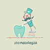 stomatologist stehend auf Stapel der Bücher und