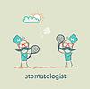Badminton spielen Zahn