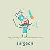 Surgeon jongliert Arbeitswerkzeuge