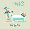 Chirurg mit Skalpell und steht auf Haufen