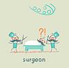 Chirurg mit Skalpell und Schere und Stände nea
