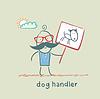 Hunde hält Plakat mit Hund