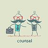 Anwalt spricht mit dem Kunden