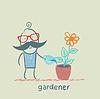 Gärtner Gewässern Blumen im Topf