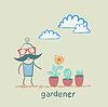 Gärtner auf der Suche nach Pflanzen