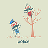 Police near tree on which sits criminal
