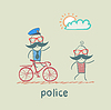Police riding bike for criminal