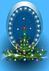Oval Frame mit Weihnachtsbaum auf blauem Hintergrund