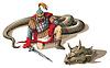 Krieger und eine Riesenschlange