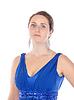 在蓝色礼服美丽的年轻女子的肖像 | 免版税照片