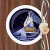 Schöne Nacht Meerjungfrau in Bullauge
