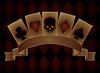 Casino Poker Postkarte mit Schädel-Karten, Vektor