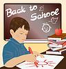 Schüler schriftlich in einem Notebook, Vektor-Illustration
