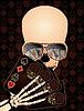Skeleton Poker zu spielen, Vektor-Illustration
