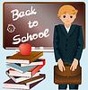 Kleiner Schüler mit Schulranzen und Bücher, vector