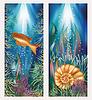 Unterwasser-Welt zwei Banner mit goldenen Fisch und Shell