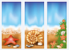 Set summer beach banners, vector illustration | 向量插图
