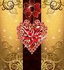 Hochzeit Liebe Postkarte mit ruby heart, vector