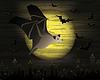 Glückliche Halloween-Karte mit dunklen Fledermaus, Vektor-Illustration