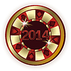 New 2014 Year Poker chip, vector illustration