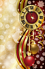 Neujahr Hintergrund mit Weihnachten Uhr, Vektor