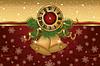 Neujahr Banner mit goldenen Xmas-Glocken und Uhr