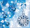 Elegante Weihnachten-Uhr, Vektor-Illustration