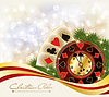 Christmas Poker Gruß Casino Banner, vector