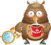 Temprano en la mañana el tiempo - búho divertido con la taza de café | Ilustración vectorial