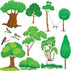 Set von Bäumen, Sträuchern und Vögeln