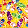 nahtlose Muster - farbige Kinder gumshoes auf