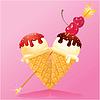 Vanilla Ice Cream Kegel mit Schokolade und