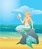 Hermosa niña sirena con conchas de mar sentado | Ilustración vectorial