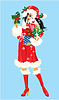 Brunette Christmas Girl wearing Santa Claus Anzug ein