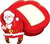 Dibujos animados de Santa Claus con un enorme saco lleno de regalos - | Ilustración vectorial